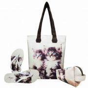 Kit Pet Feminino Gatinhos Olhos Azuis com Bolsa, Necessaire e Chinelo, Magicc
