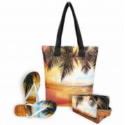 Kit Feminino Praia Pôr do Sol com Bolsa, Necessaire e Chinelo, Magicc
