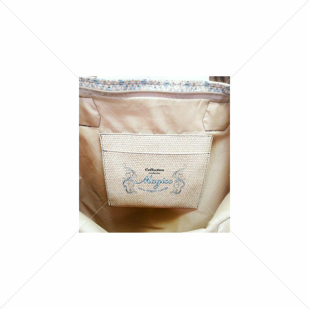 Bolsa Casual Feminina Azul-Marfim, Magicc