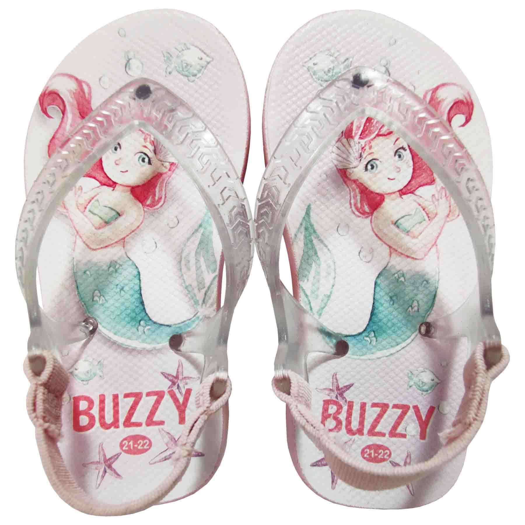 Chinelo Bebê Buzzy Sandália Infantil Sereia Meninas BZ019