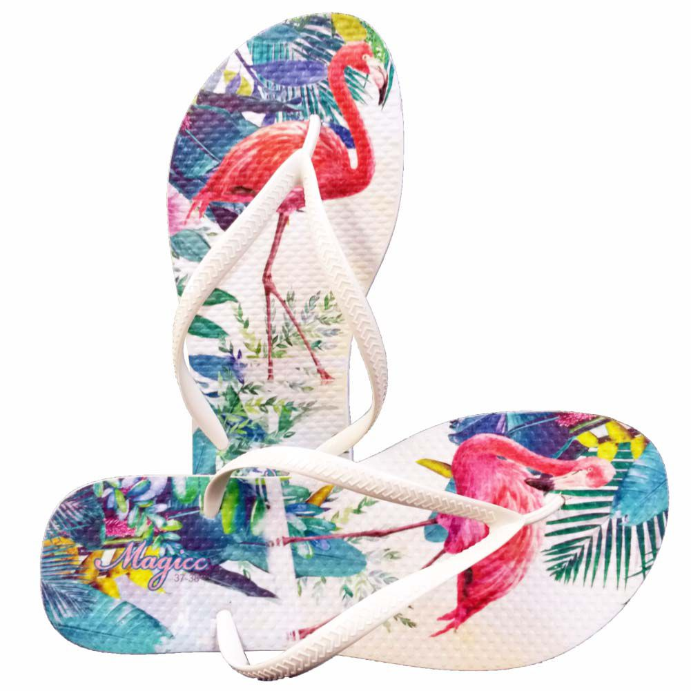 Chinelo Tropical Feminino Flamingos, Magicc