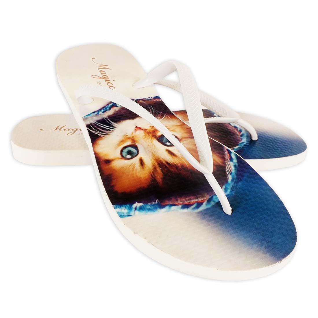 Chinelo Pet Feminino Gatinho Azul, Magicc