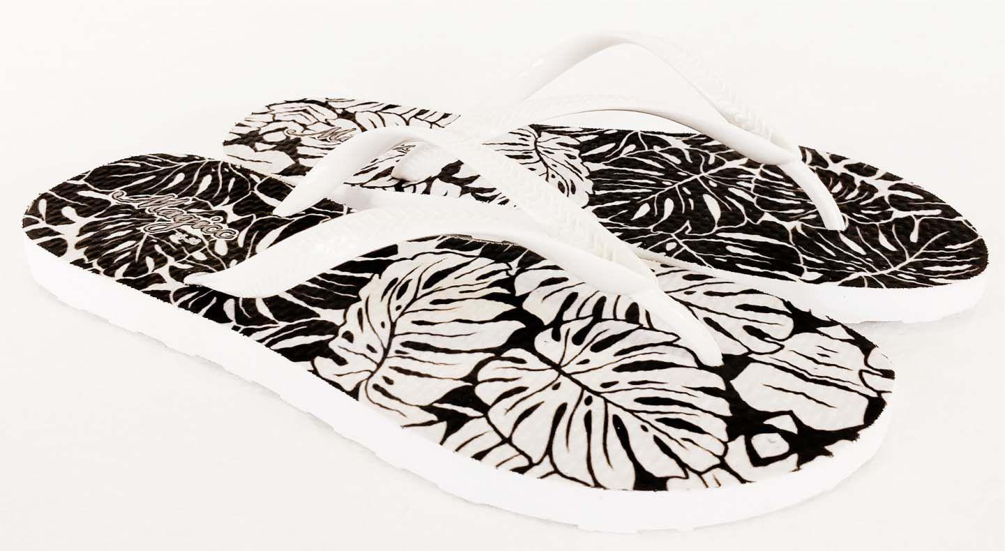 Chinelo Feminino Tropical Branco e Preto, Magicc