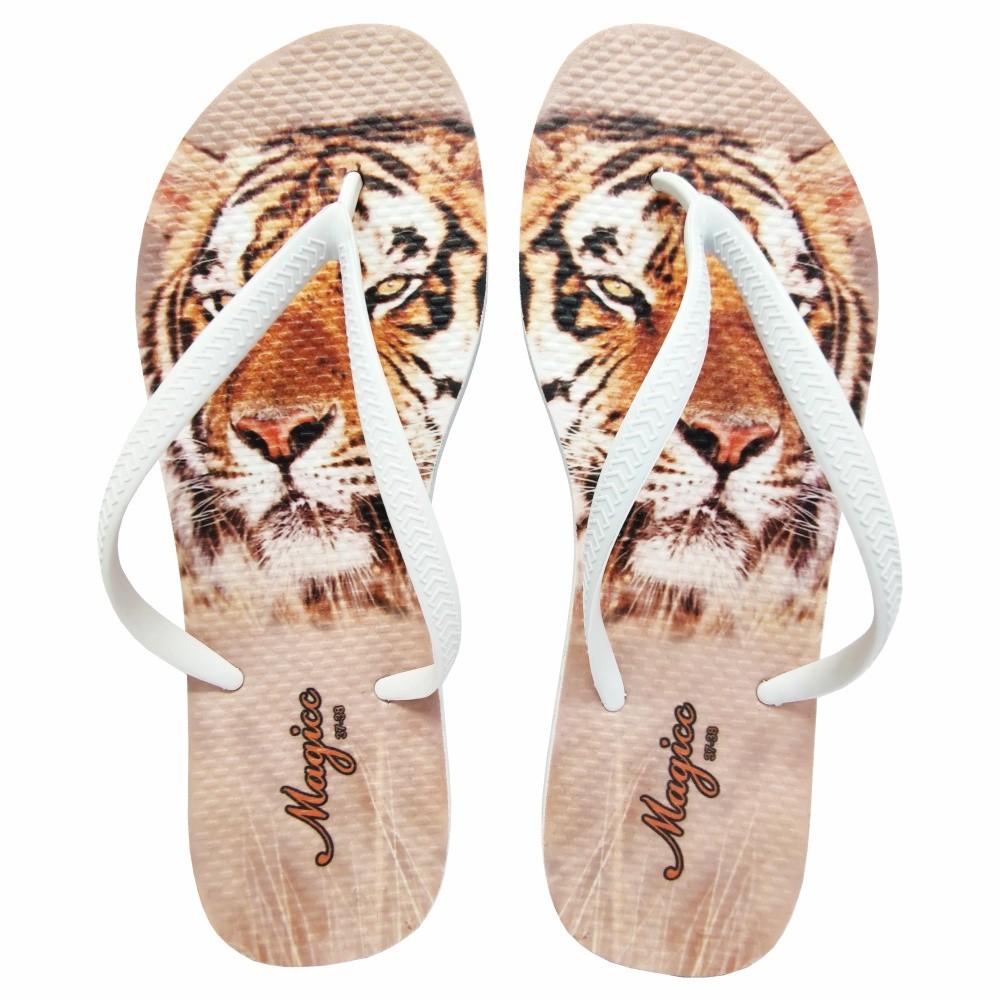 Chinelo Selva Feminino Tigre Laranja, Magicc