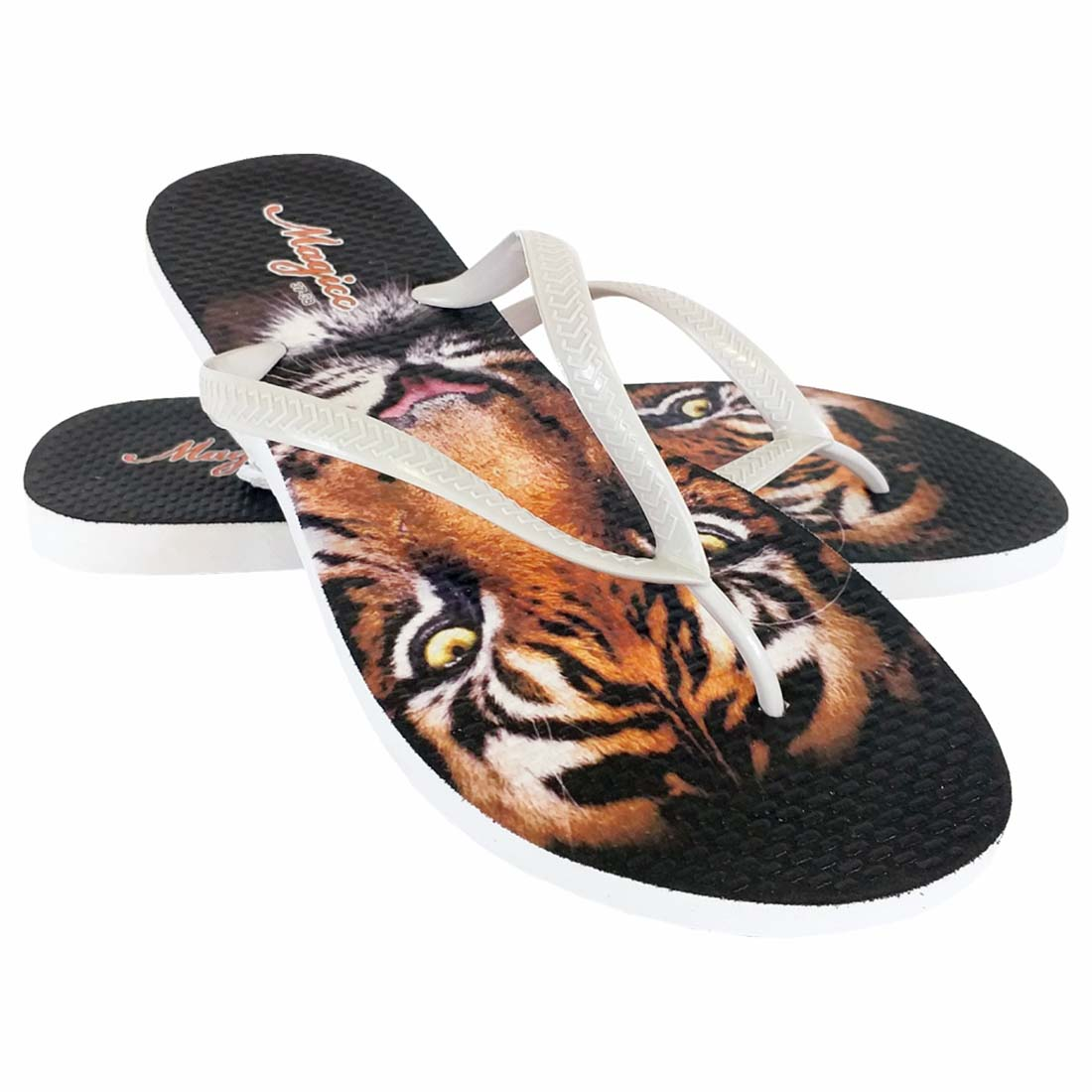 Chinelo Selva Feminino Tigre Marrom, Magicc