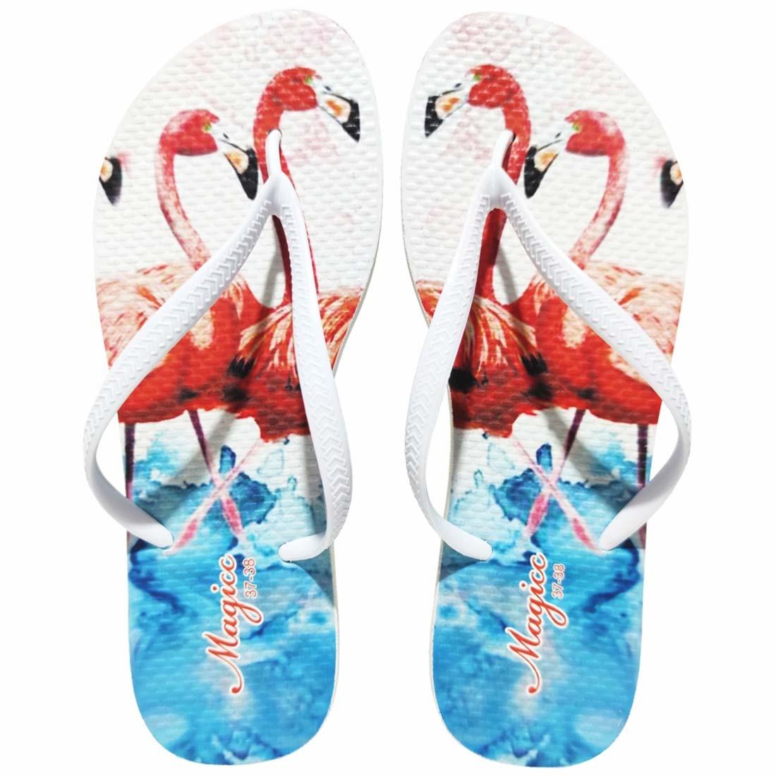 Chinelo Feminino Tropical Flamingos Vermelhos, Magicc