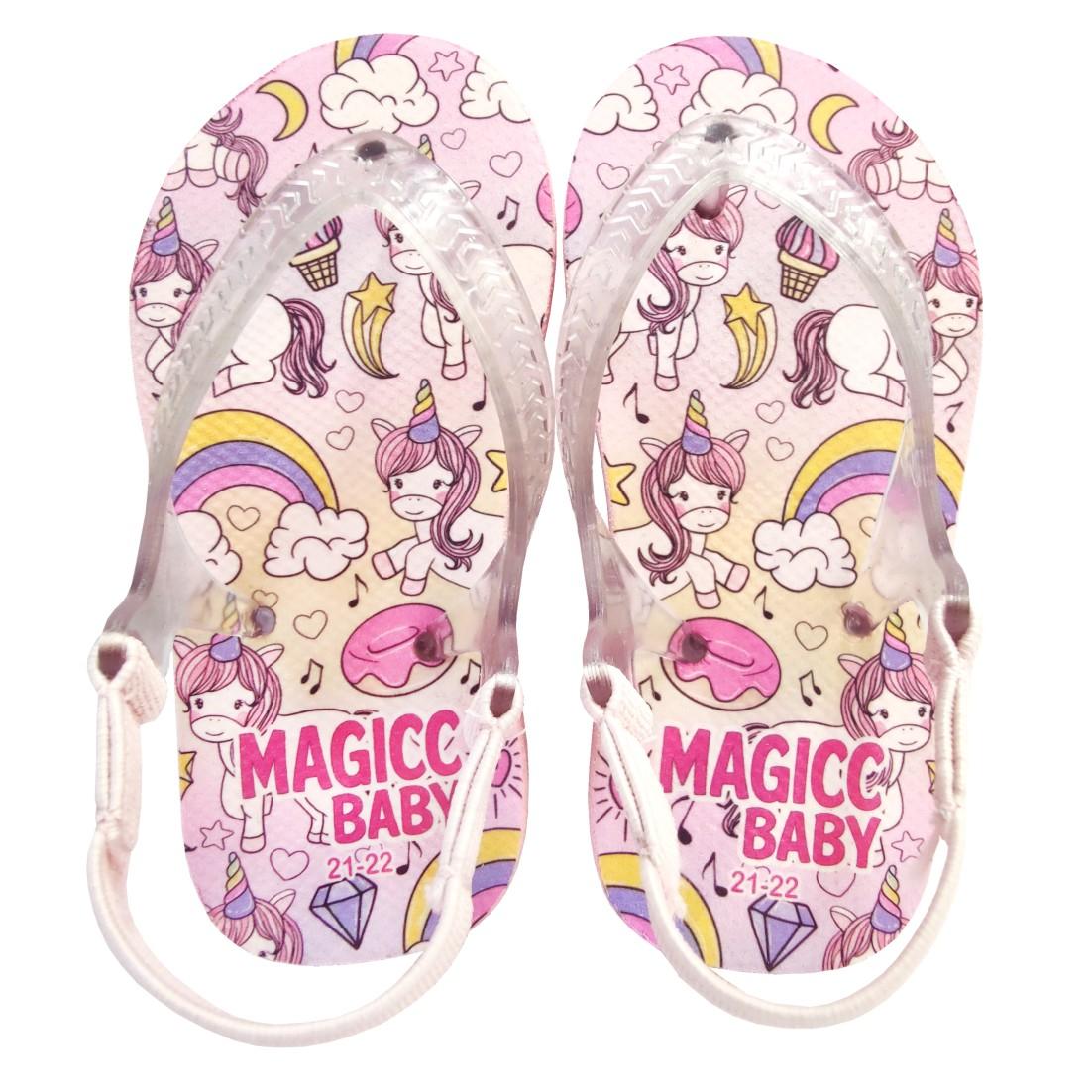 Chinelo Menina Bebê Sandália Unicórnio Arco-Íris Magicc Baby
