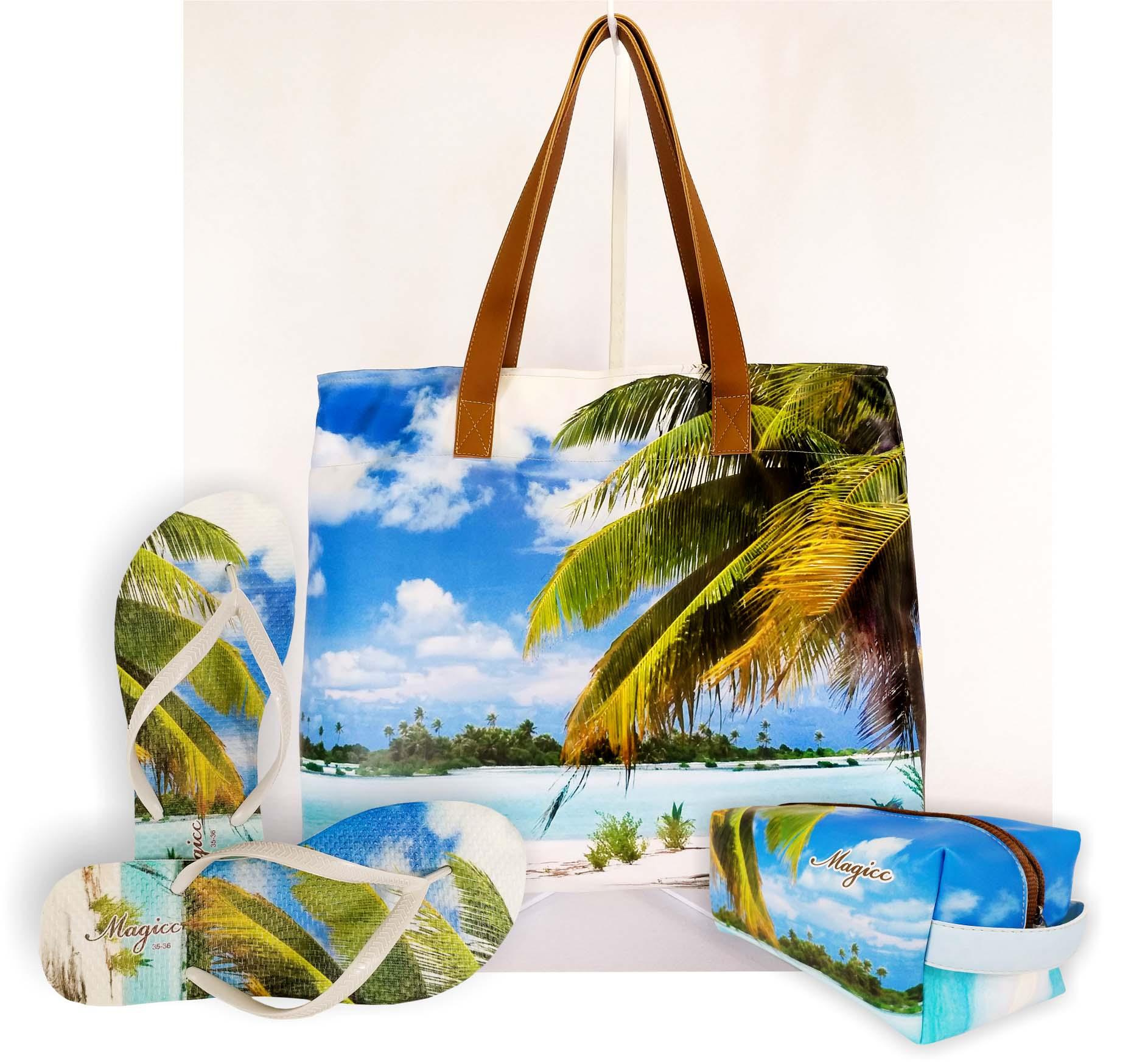 Kit Feminino Praia Coqueiro com Bolsa, Necessaire e Chinelo, Magicc
