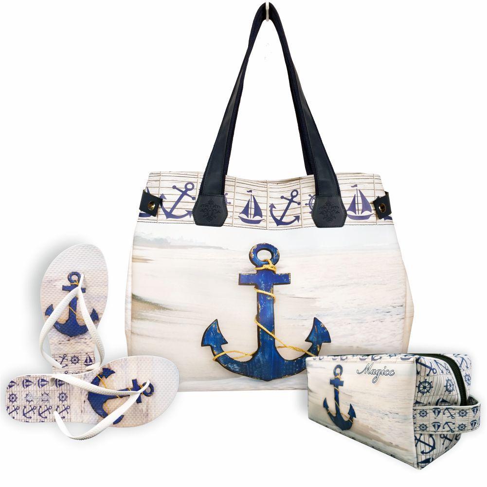 Kit Feminino Praia Âncora Azul Marinho com Bolsa, Necessaire e Chinelo, Magicc