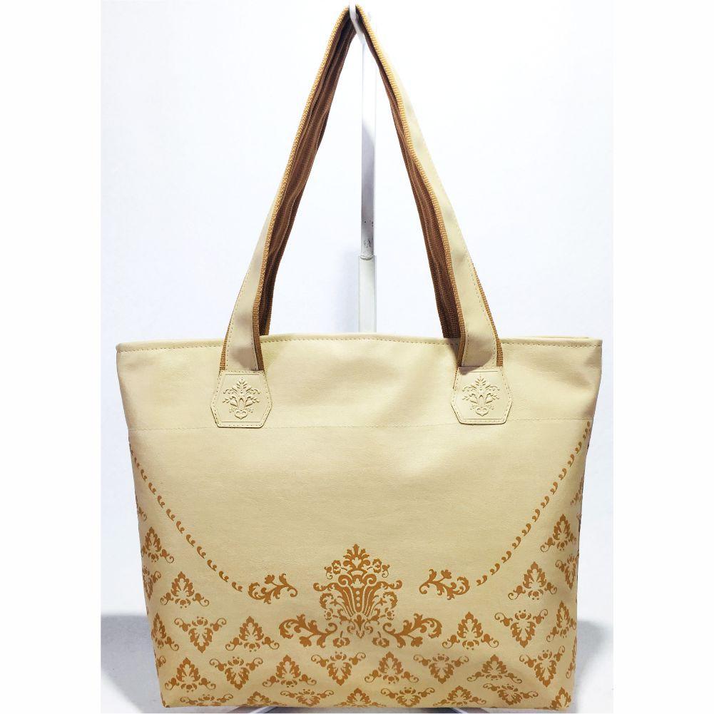 Kit Feminino Casual Arabesco Marfim com Bolsa, Necessaire e Chinelo, Magicc