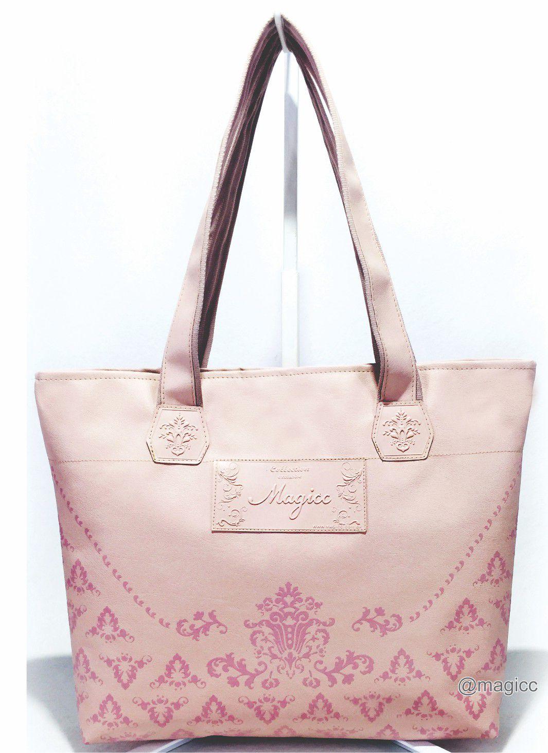 Kit Feminino Casual Arabesco Rosa com Bolsa, Necessaire e Chinelo, Magicc