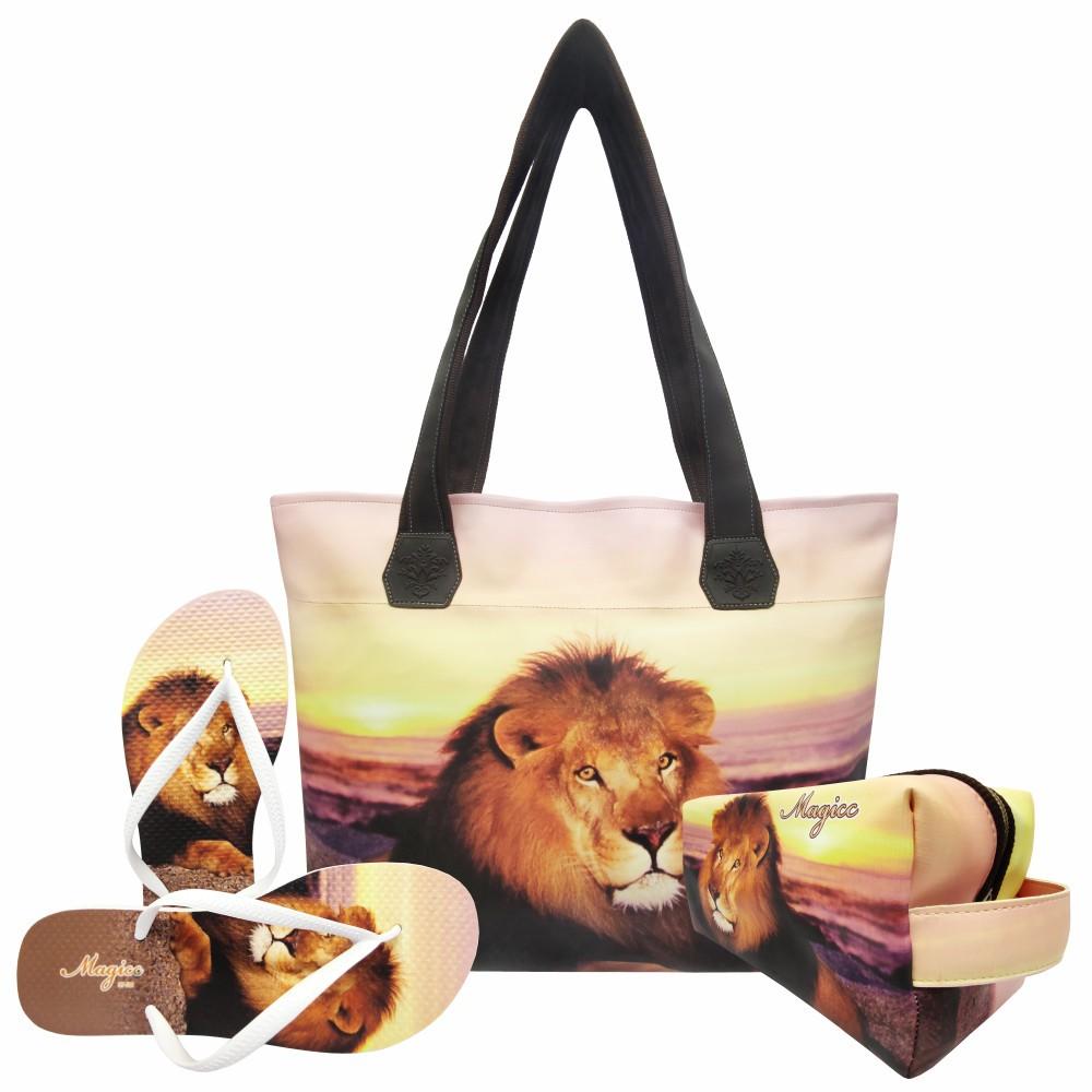 Kit Selva Feminino Leão com Bolsa, Necessaire e Chinelo, Magicc