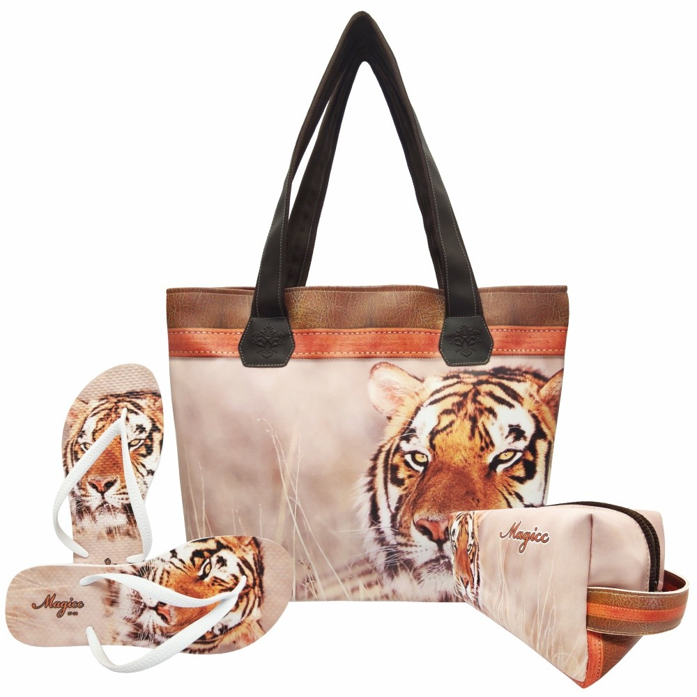 Kit Selva Feminino Tigre Laranja com Bolsa, Necessaire e Chinelo, Magicc