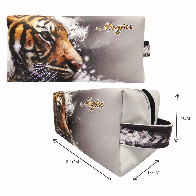Kit Selva Feminino Tigre com Bolsa, Necessaire e Chinelo, Magicc