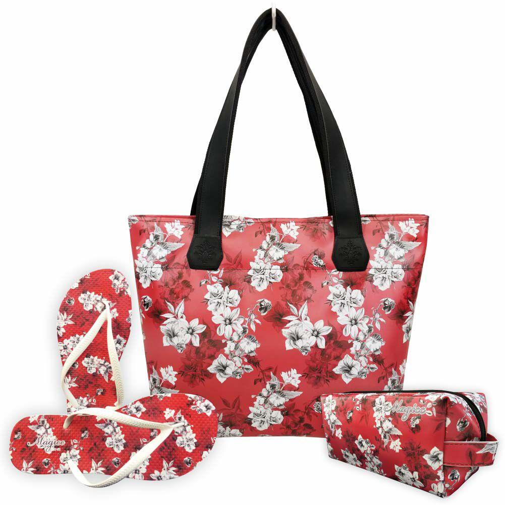 Kit Tropical Feminino Flores com Bolsa, Necessaire e Chinelo, Magicc