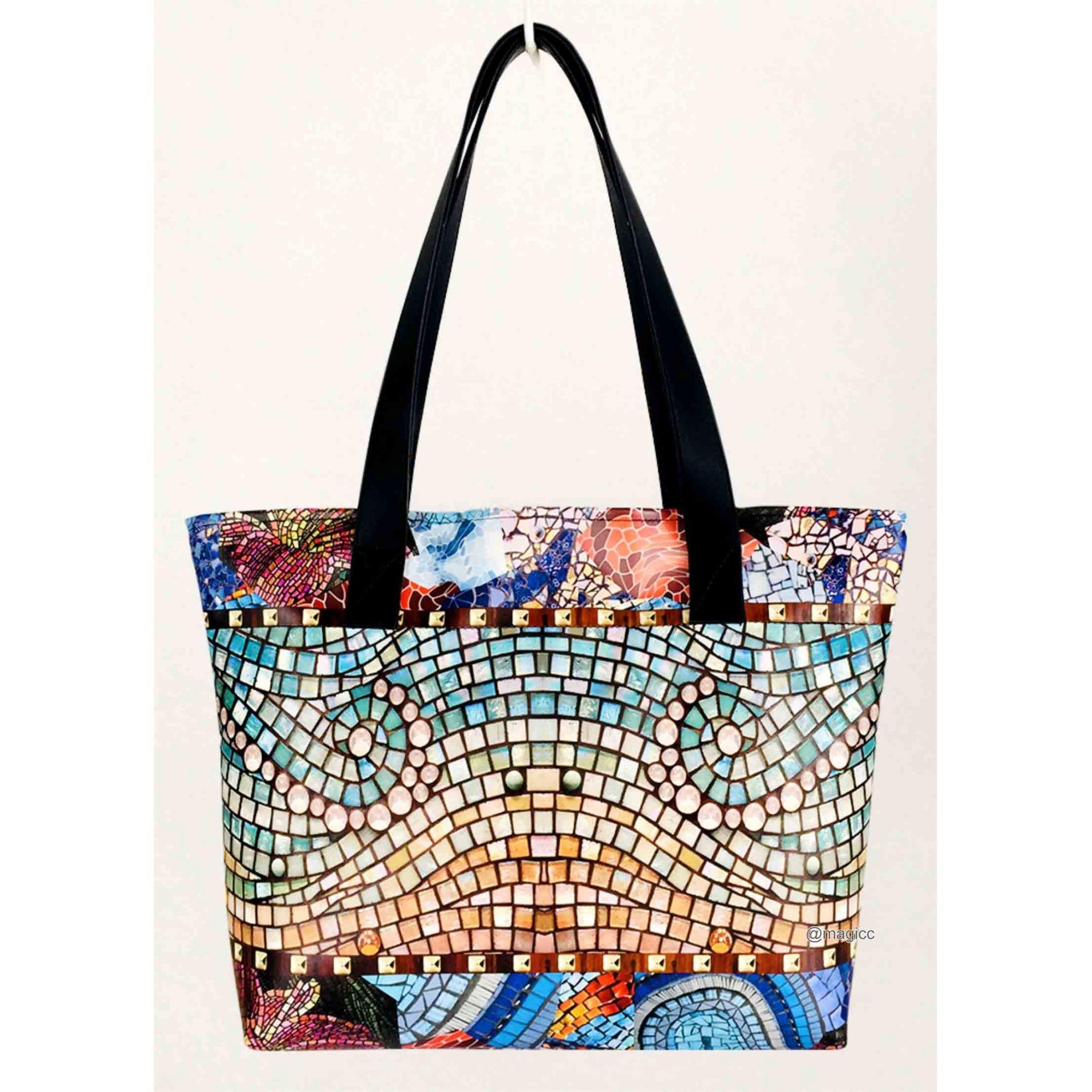 Kit Casual Feminino Mosaico com Bolsa, Necessaire e Chinelo, Magicc