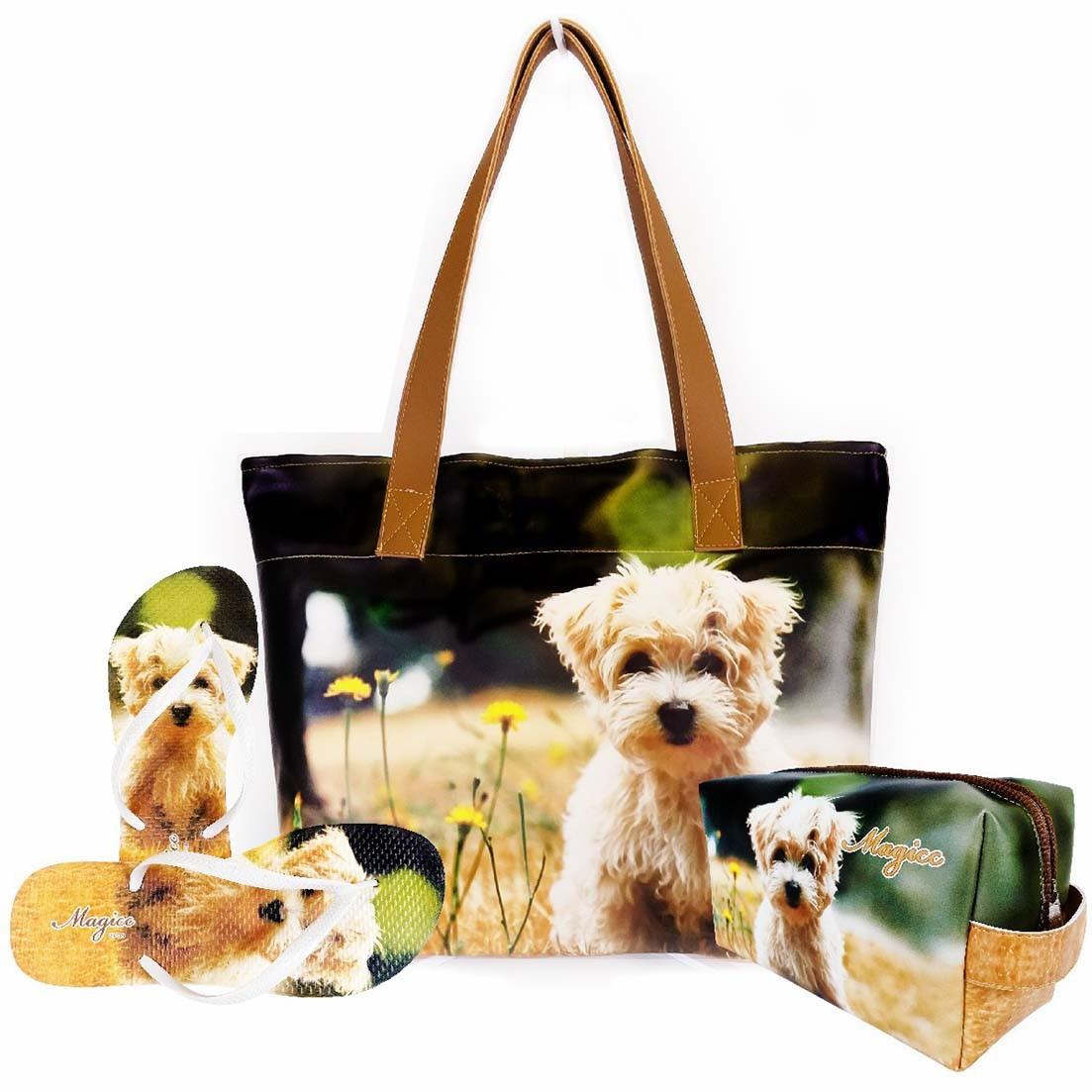 Kit Pet Feminino Cachorro com Bolsa, Necessaire e Chinelo, Magicc