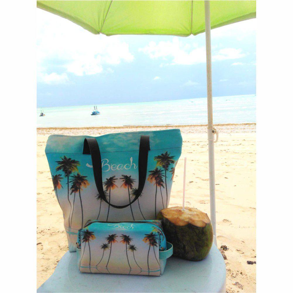 Kit Feminino Praia Céu Azul com Bolsa, Necessaire e Chinelo, Magicc