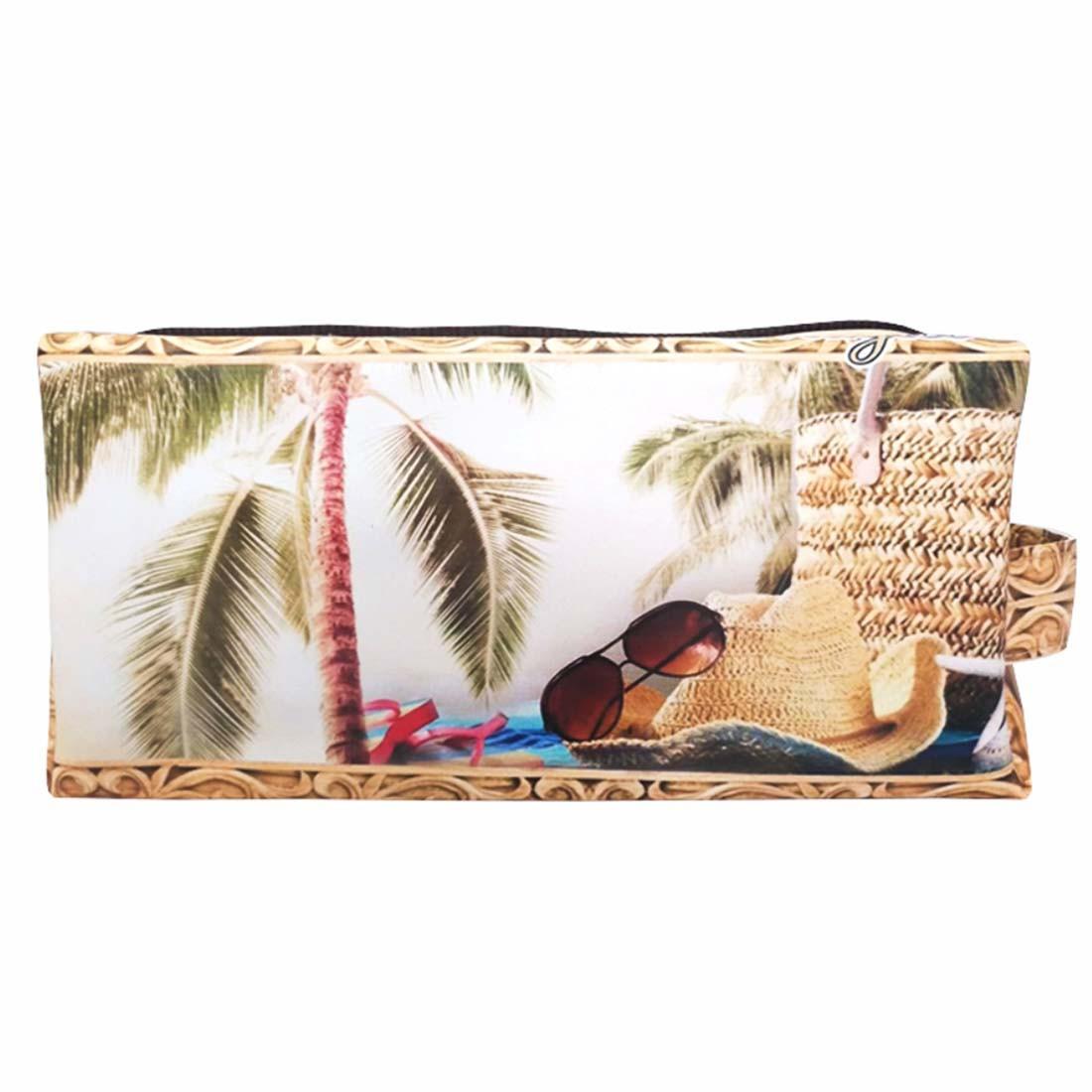 Kit Praia Feminino Chapéu de Palha com Bolsa, Necessaire e Chinelo, Magicc