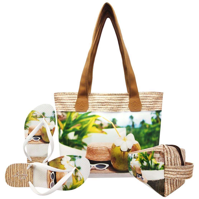 Kit Praia Feminino Chapéu e Coco com Bolsa, Necessaire e Chinelo, Magicc