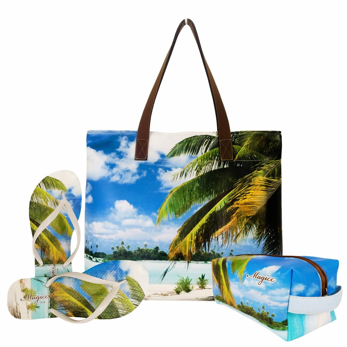 Kit Praia Feminino Coqueiro com Bolsa, Necessaire e Chinelo, Magicc
