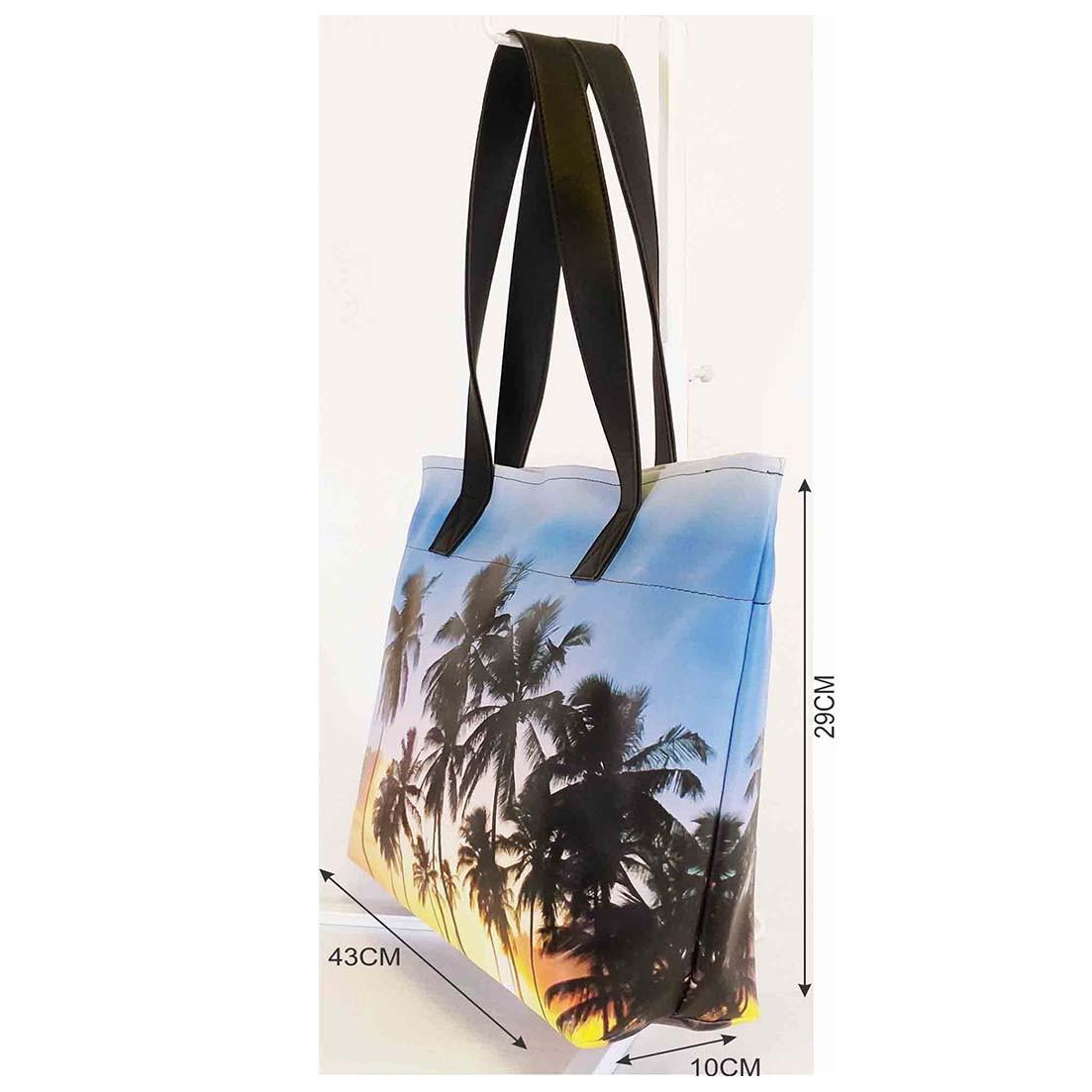 Kit Praia Feminino Coqueiros com Bolsa, Necessaire e Chinelo, Magicc
