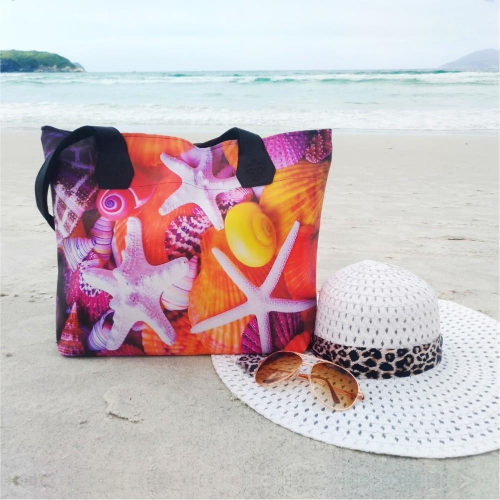 Kit Praia Feminino Estrelas-do-Mar com Bolsa, Necessaire e Chinelo, Magicc