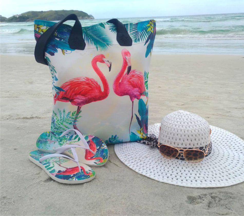 Kit Feminino Praia Flamingos com Bolsa, Necessaire e Chinelo, Magicc