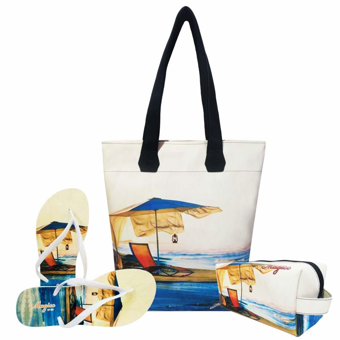 Kit Praia Feminino Sossego com Bolsa, Necessaire e Chinelo, Magicc