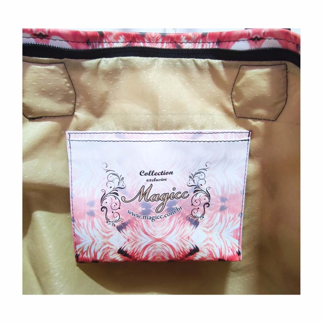 Kit Feminino Tropical Flamingos Vermelhos, Necessaire e Chinelo, Magicc