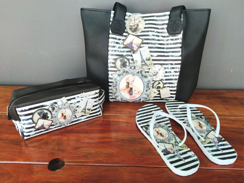 Kit Casual Feminino Vintage com Bolsa, Necessaire e Chinelo, Magicc