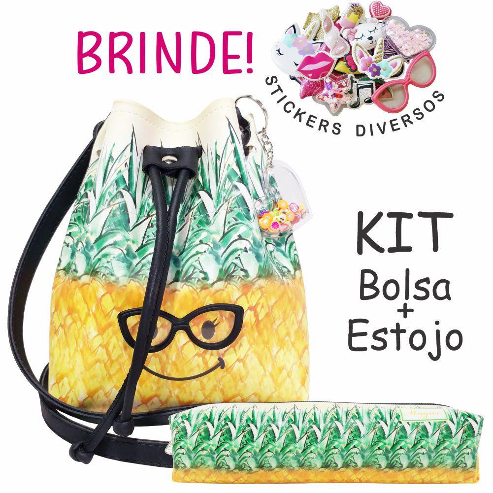Kit Infantil Abacaxi com Óculos com Bolsa e Estojo, Magicc Bolsa