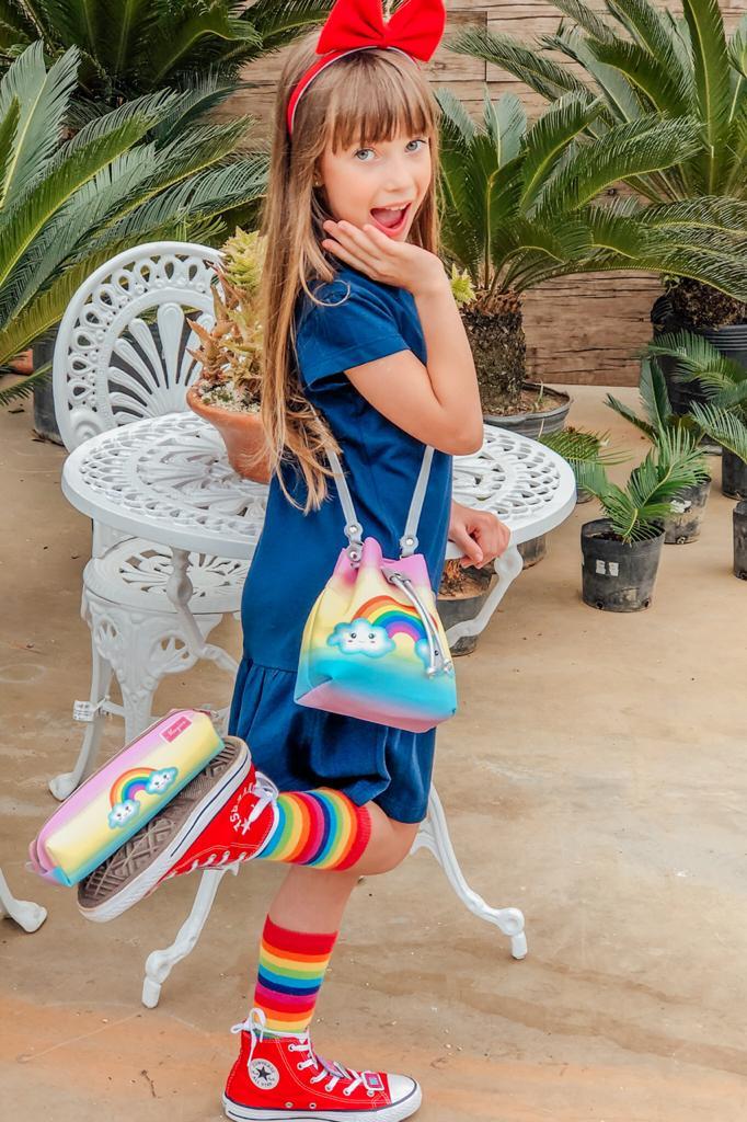 Kit Infantil Bolsa e Estojo  Arco-Íris, Magicc Bolsas