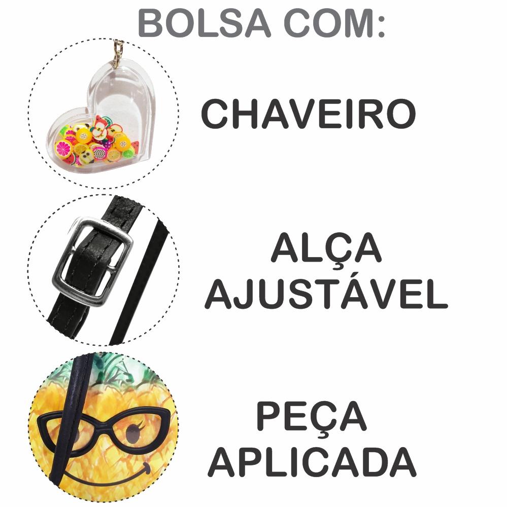 Kit Infantil Bolsa e Estojo  Abacaxi com Óculos, Magicc Bolsa