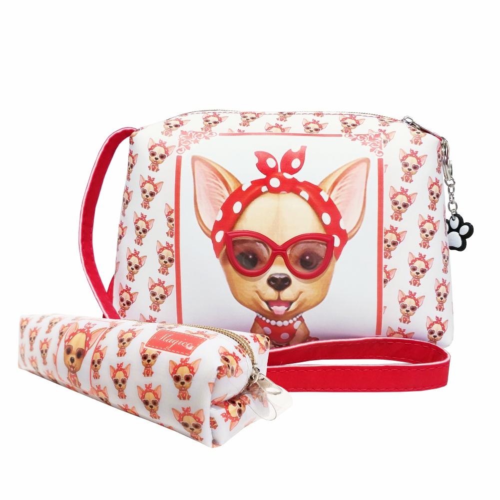 Kit Infantil Bolsa e Estojo Cachorrinha Vermelha com Óculos, Magicc Bolsas