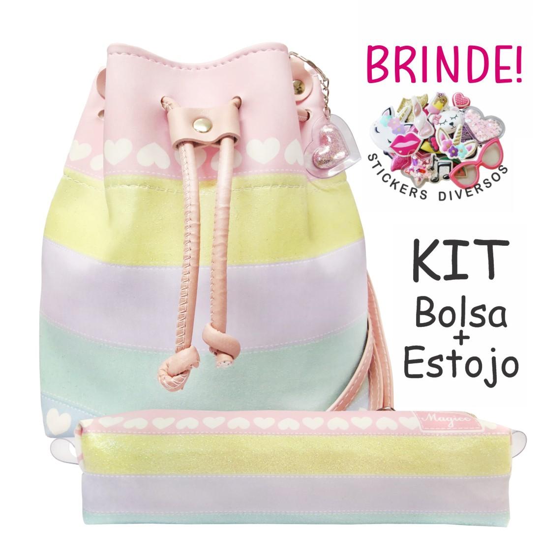 Kit Infantil Bolsa e Estojo Colorida Corações, Magicc