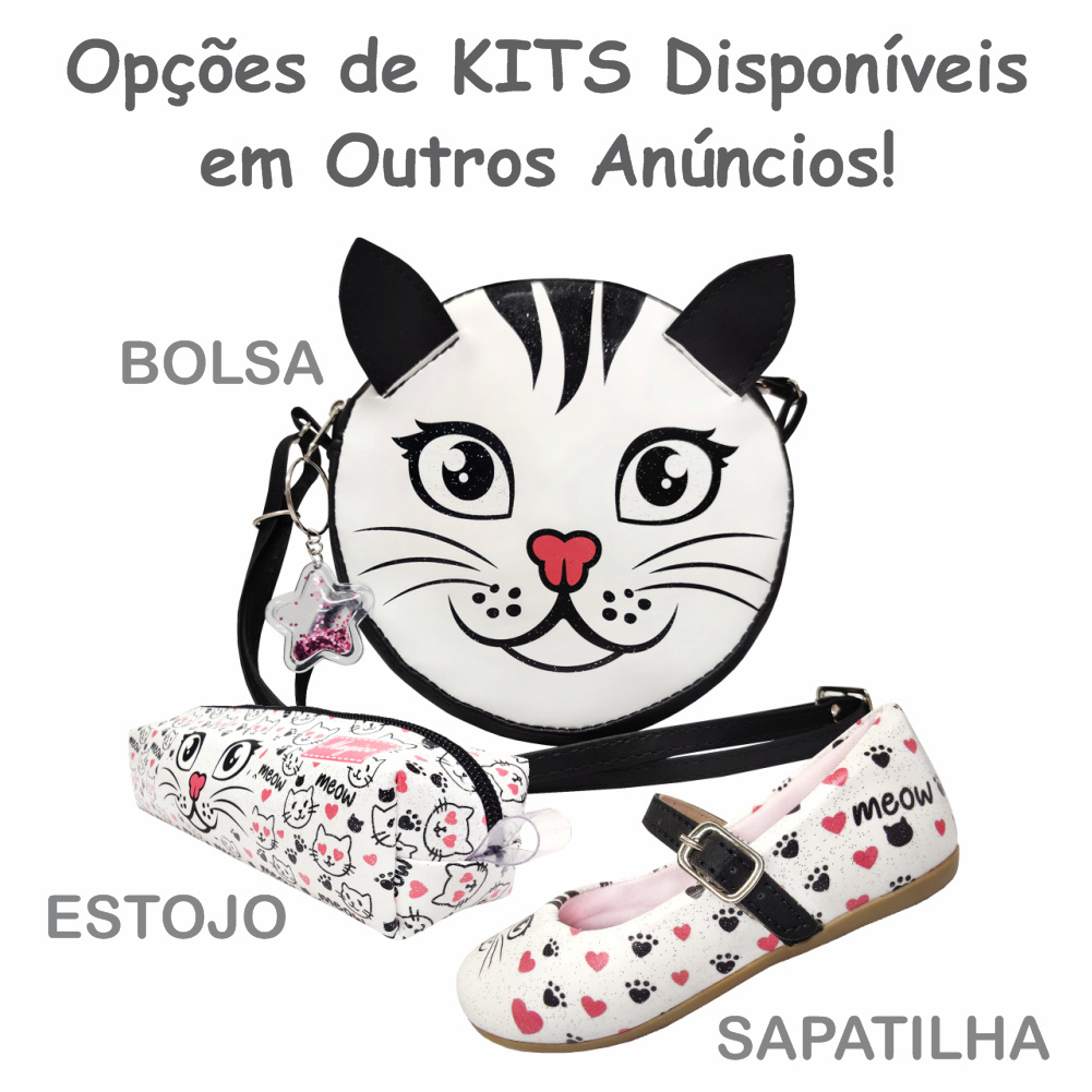 Kit Infantil Bolsa e Estojo Gatinho, Magicc Bolsas