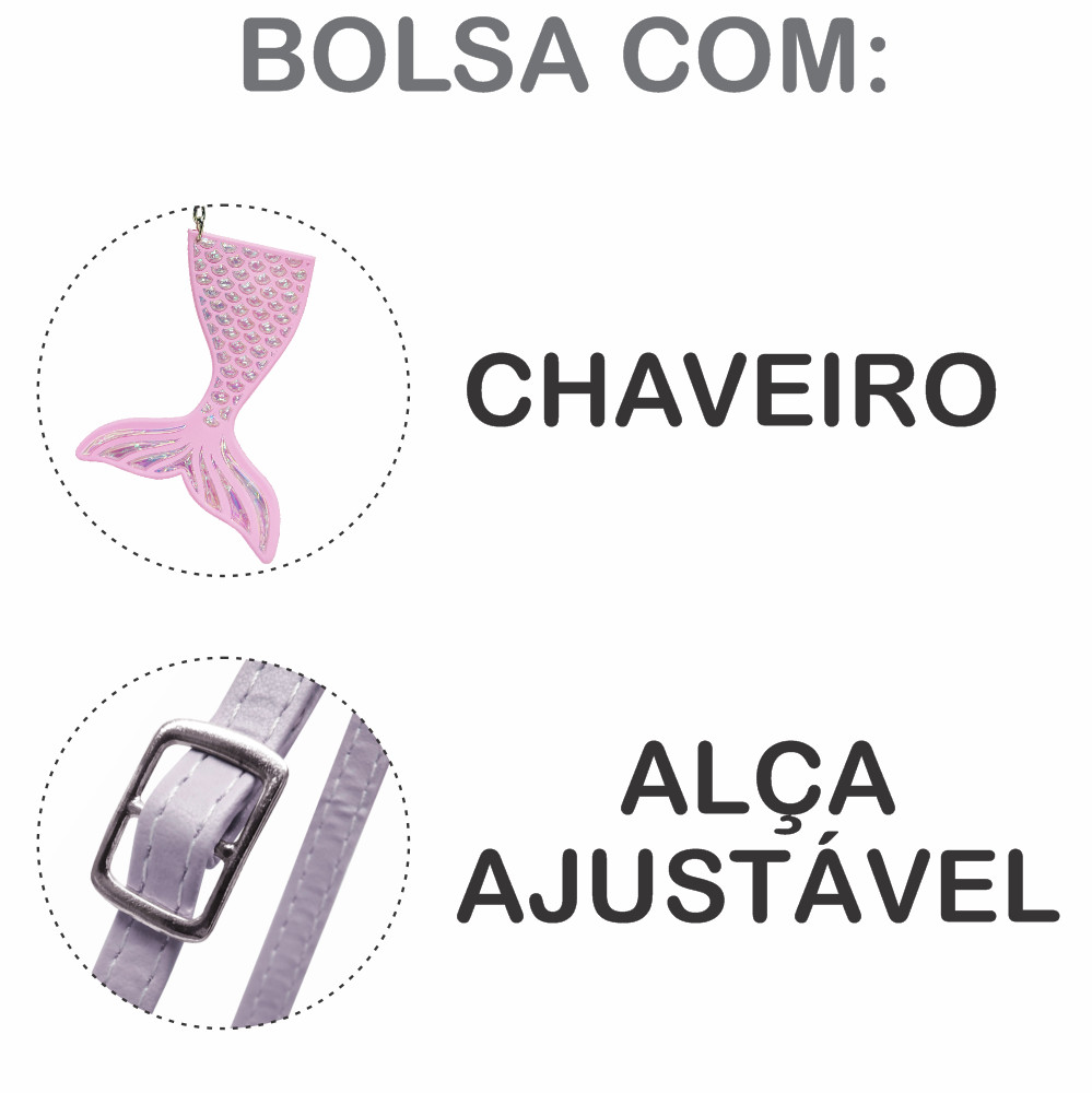 Kit Infantil Bolsa e Estojo Sereia E Conchas, Magicc Bolsas