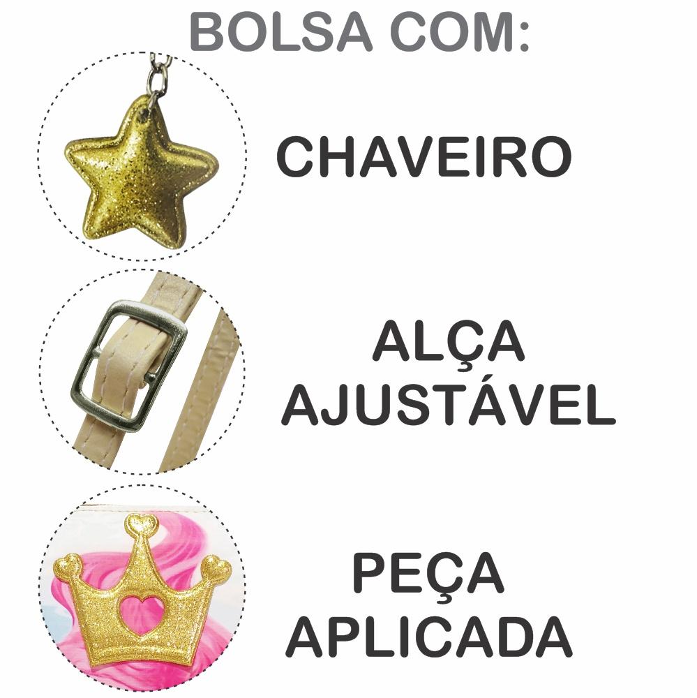Kit Infantil Bolsa e Estojo  Sereia Com Coroa Dourada, Magicc Bolsas