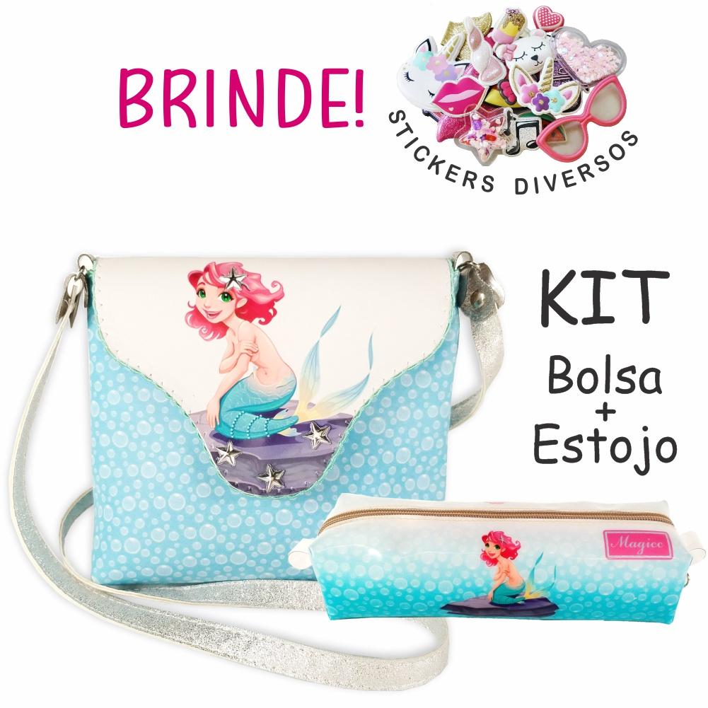 Kit Infantil  Bolsa e Estojo Sereia, Magicc Bolsas