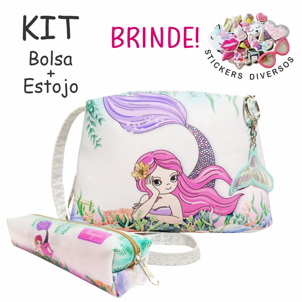 Kit Infantil Bolsa e Estojo Sereia Charmosa, Magicc Bolsas