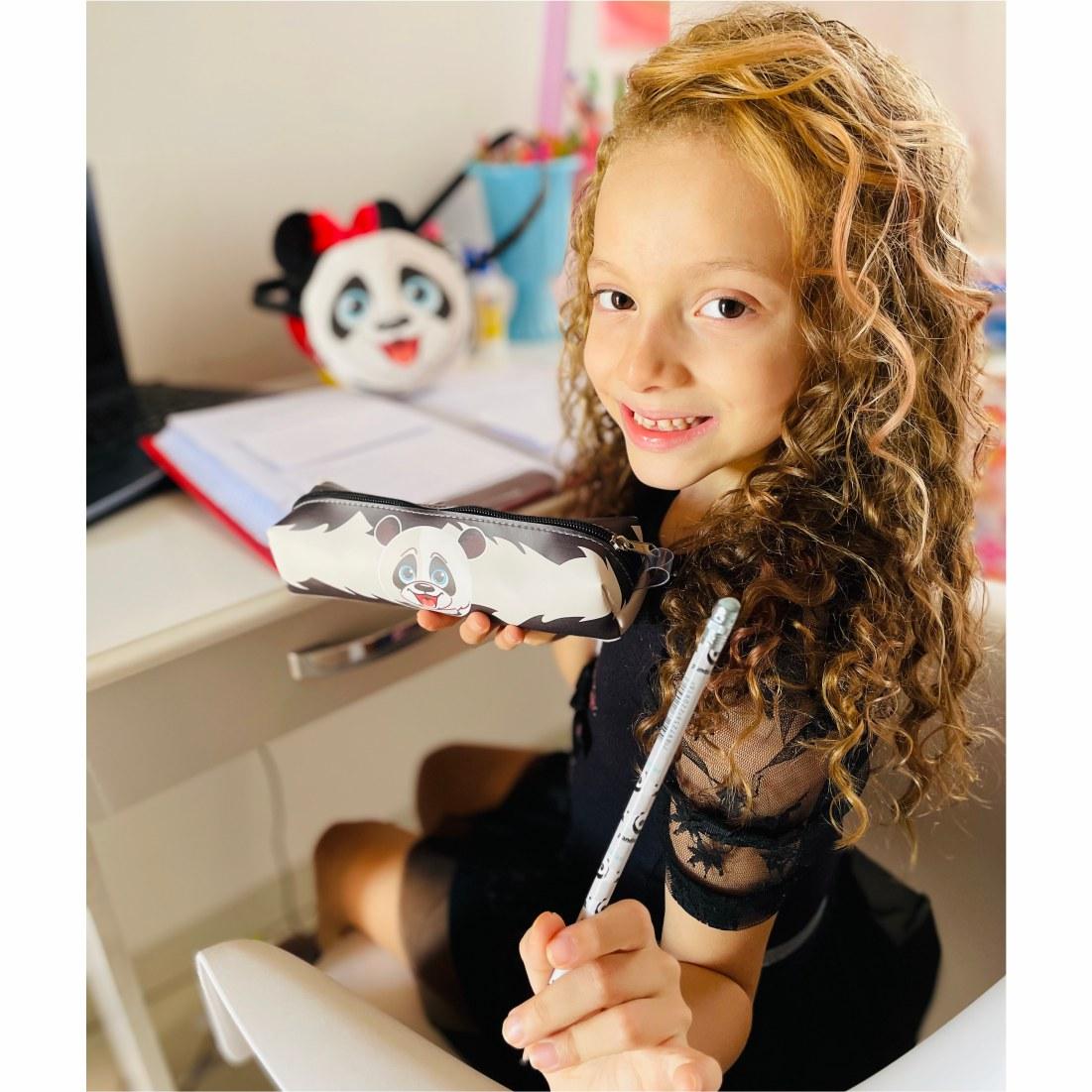 Kit Infantil Feminino Bolsa e Estojo Ursinho Panda, Magicc Bolsas