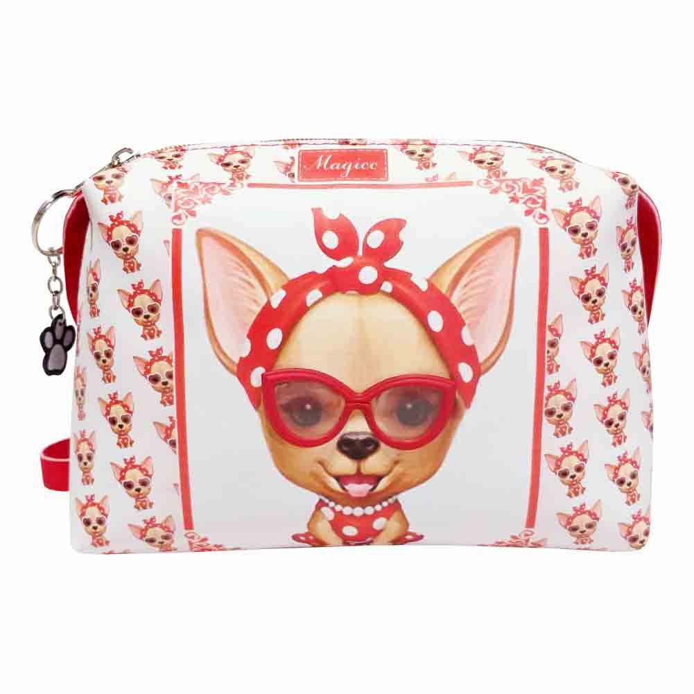 Kit Infantil Cachorrinha Vermelha com Óculos, bolsa e estojo, Magicc
