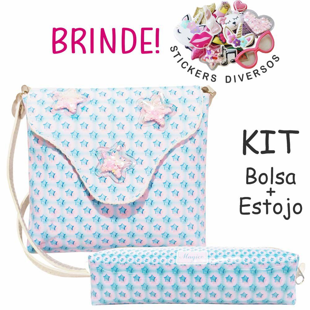 Kit Infantil Estrelinhas com Bolsa e Estojo, Magicc Bolsas