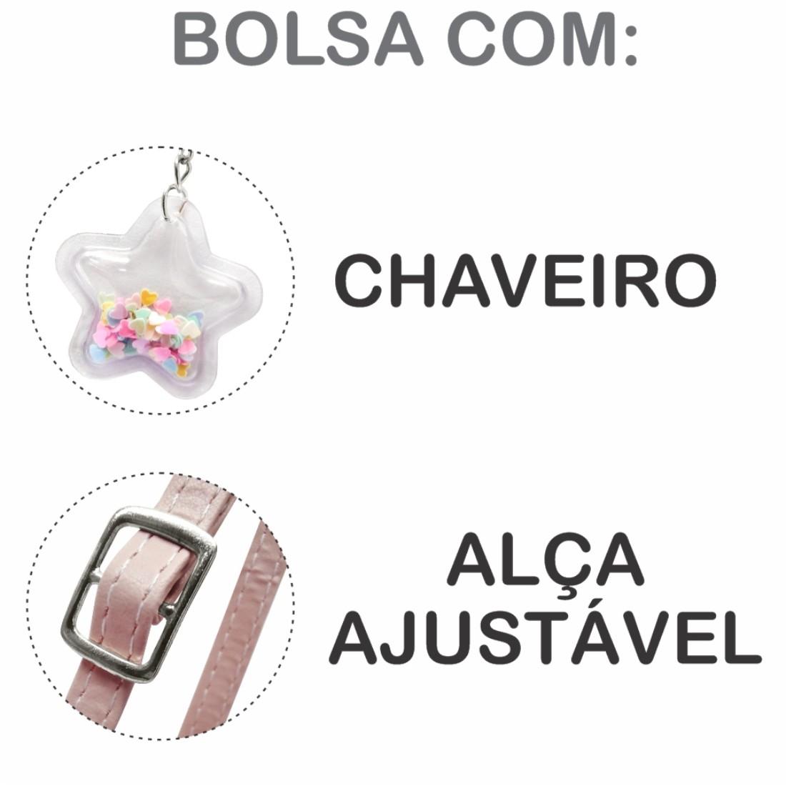 Kit Infantil Feminino Sapatilha, Bolsa E Estojo Gatinho Arco-Íris, Magicc Kids