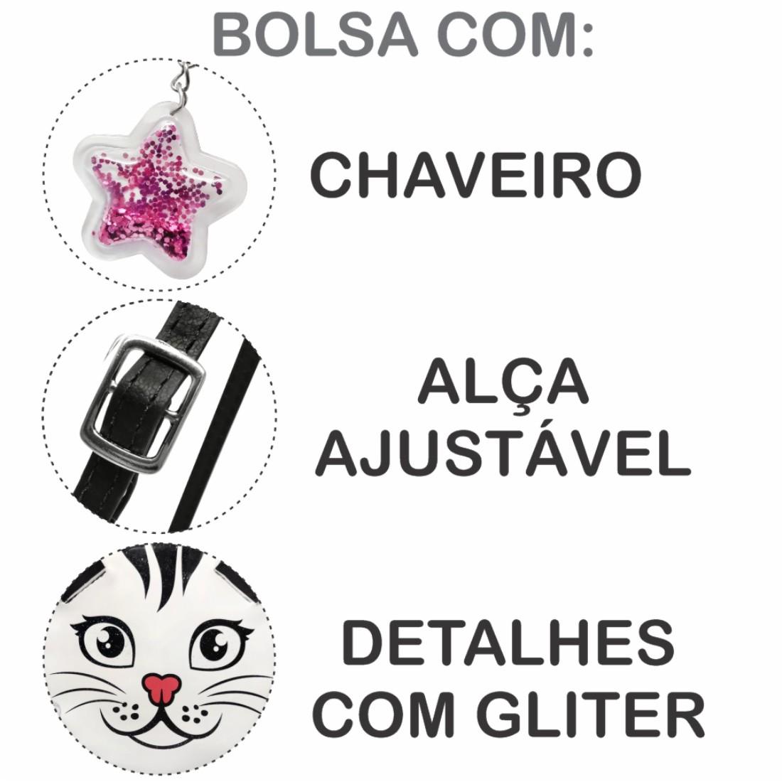 Kit Infantil Feminino Sapatilha, Bolsa e Estojo Gatinho, Magicc Kids