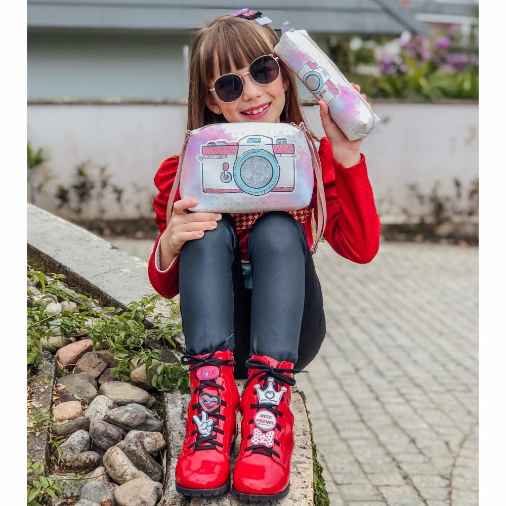 Kit Infantil Feminino Sapatilha, Bolsa E Estojo Máquina Fotográfica, Magicc Kids