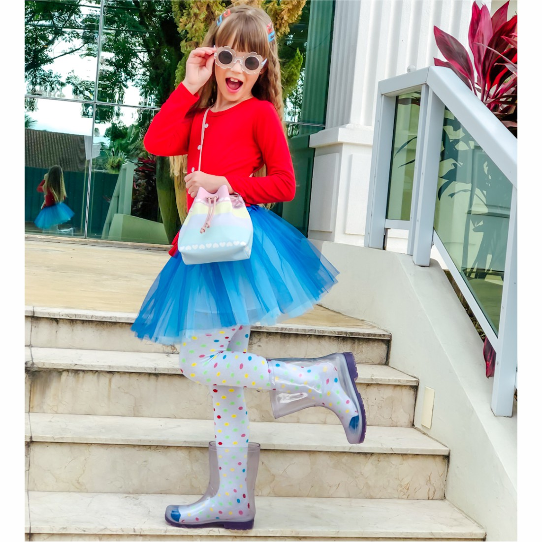 Kit Infantil Feminino Sapatilha e Bolsa Colorida Corações, Magicc Kids