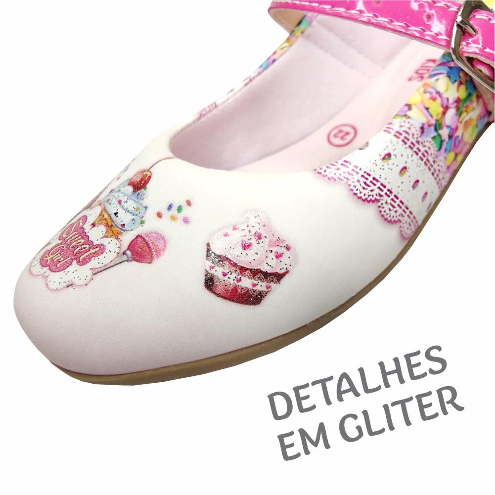 Kit Infantil Feminino Sapatilha e Bolsa Cup Cake, Magicc Kids