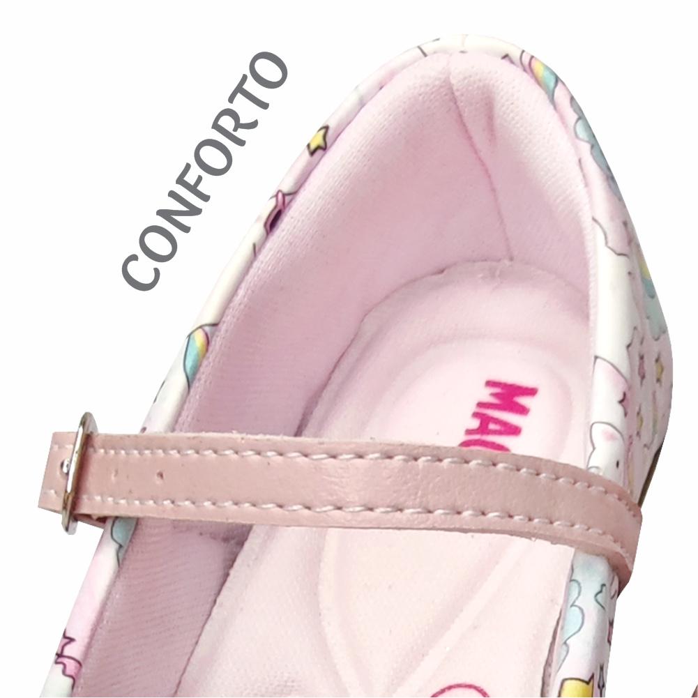 Kit Infantil Feminino Sapatilha e Bolsa Gatinho Arco-Íris, Magicc Kids